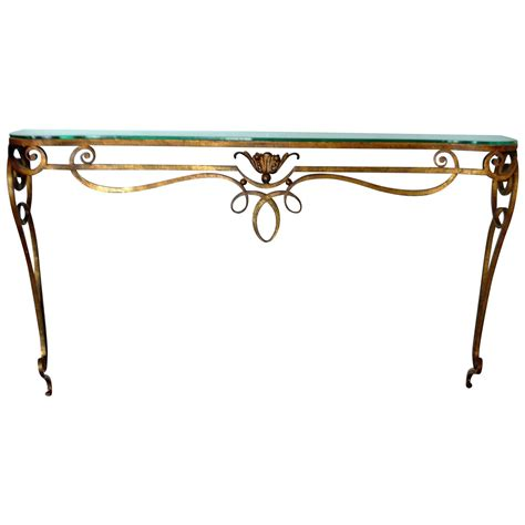 wrought iron sofa table wrought iron gilded console table with glass top for sale