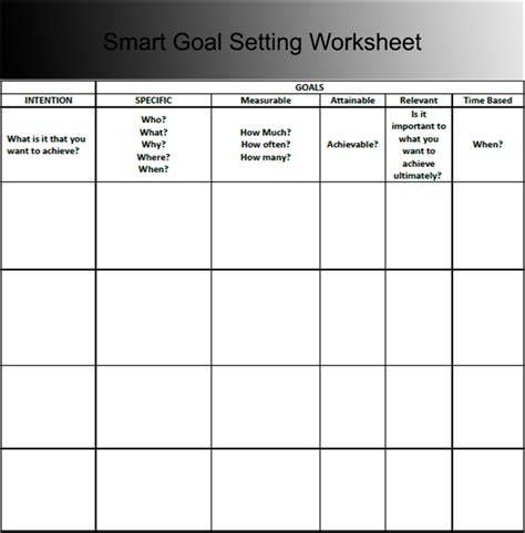 goal sheet templates   word excel formats