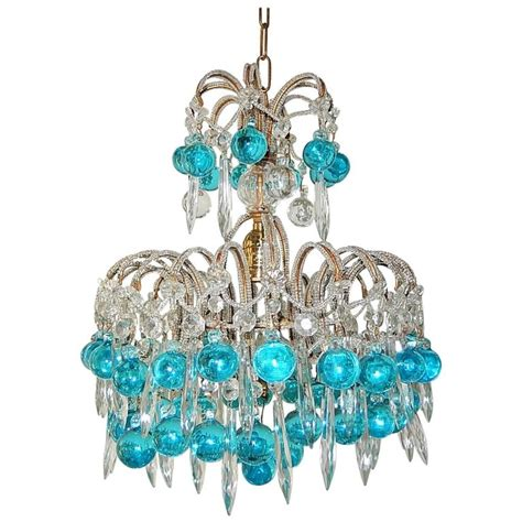 Aqua Chandelier by Beaded Aqua Blue Murano Balls And Crystals