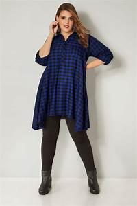 Cobalt Blue Longline Checked Shirt With Hanky Hem Plus