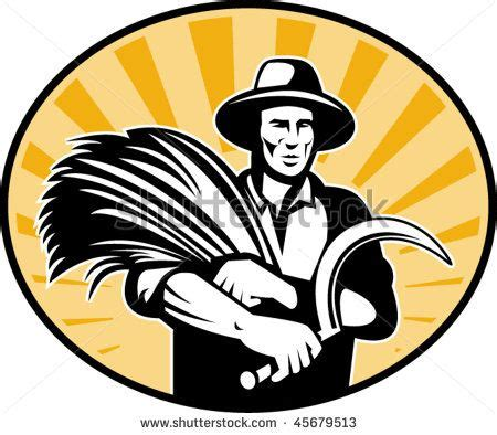 Vector line art logos for cafe of coffee shop. vector illustration of a Farmer harvesting wheat with scythe with sunburst in background retro ...