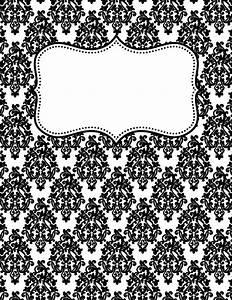 free printable black and white damask binder cover With black and white binder cover templates
