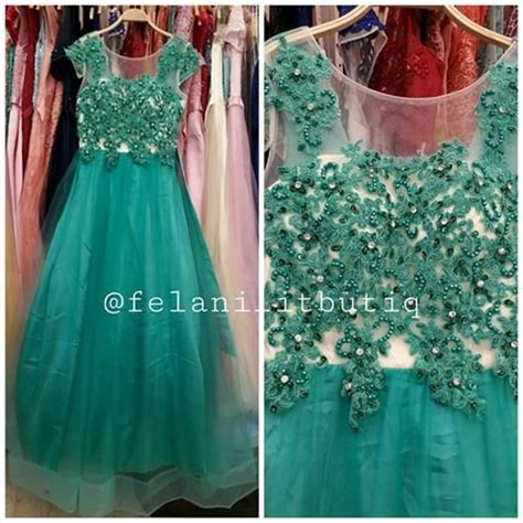 jual longdress pesta brokat hijau tosca party dress