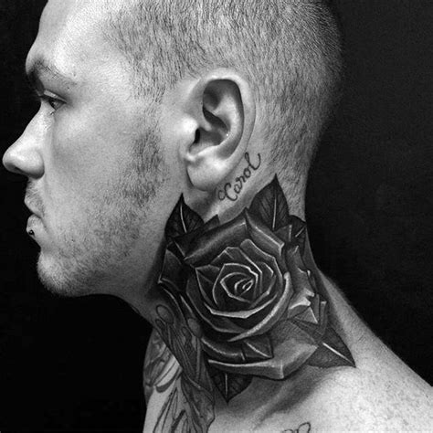 awesome black rose tattoos  male side neck golfiancom