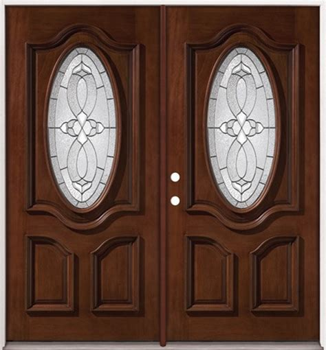 discount  oval mahogany prehung double wood door unit
