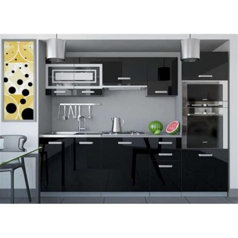 cuisine equipee noir justhome paula 1 cuisine équipée complète 240 cm couleur