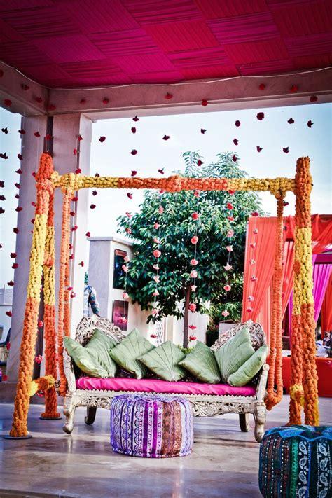 mehendi jhoola decor with marigolds in 2019 decor