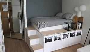 diy platform bed met extra opbergruimte roomed With ordinary meuble gain de place studio 3 deco studio 18m2