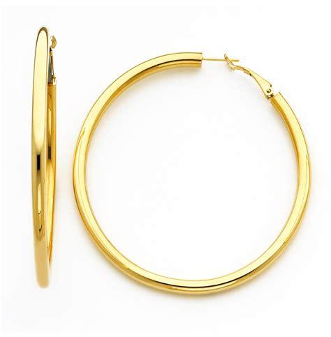 18k gold earring 18k yellow gold 4mm high 75mm diameter hoop