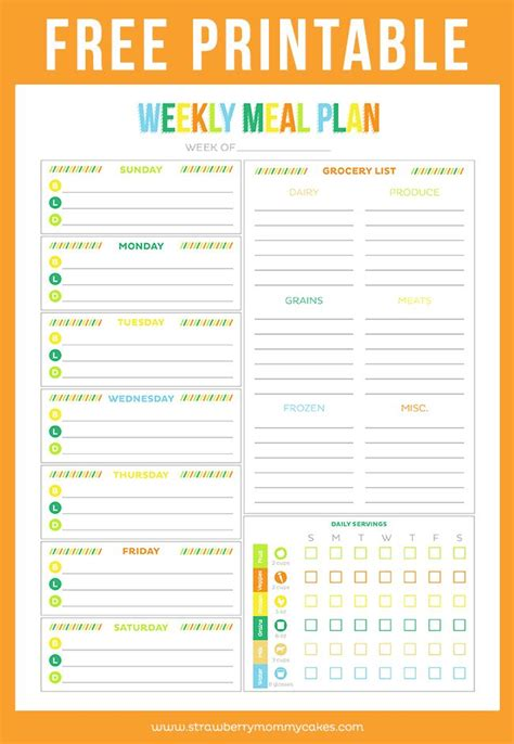 printable menu planners meal planner printable