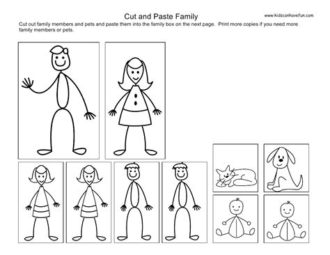 cosy my family worksheet for kindergarten about cut and
