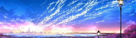 sky city scenery horizon landscape anime