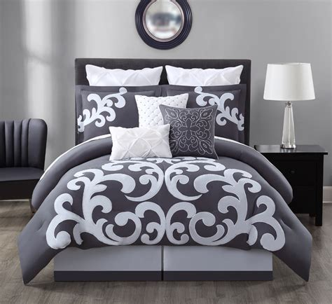 9 piece empress gray white comforter set