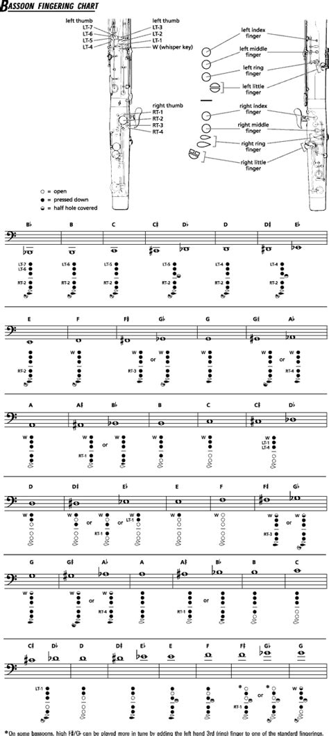 bassoon fingering chart clarinet music oboe charts achievement accent horn scales flute bass band basson fingerings french saxophone sax trumpet