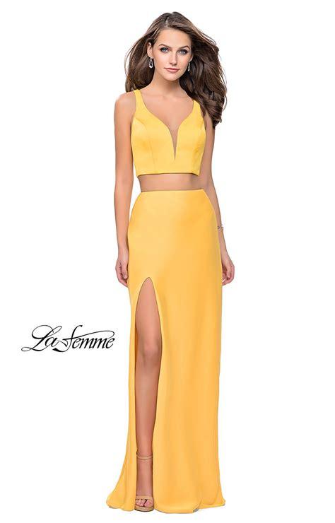 La Femme 25599  2 Piece Fitted Stretch Satin Prom Dress