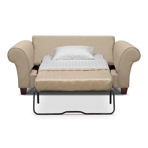 twin sleeper sofa chair cream color leather twin size sleeper sofa with white fold
