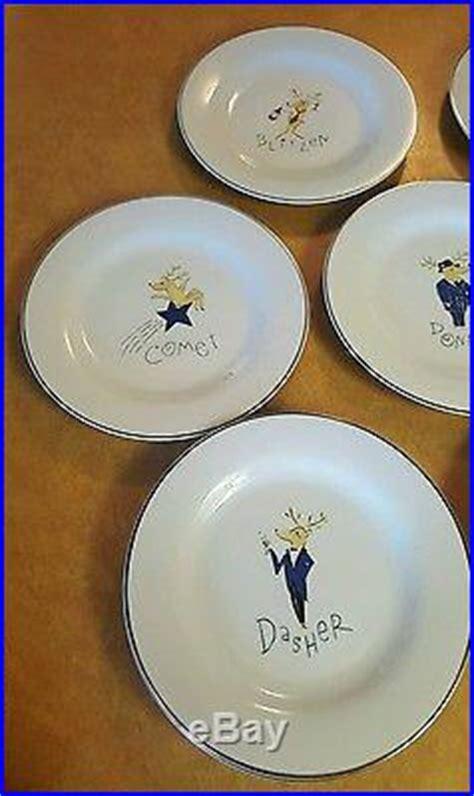 pottery barn set   christmas reindeer dinner plates