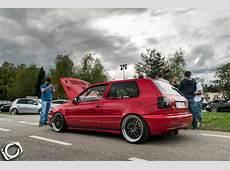 Red VW Golf Mk3 with black wheels VW Golf Tuning