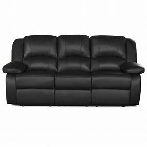 relax canape 3 places relaxation cuir et simili noir With canape relax cuir noir