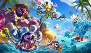 Splash art pięciu nowych skórek z serii Pool Party ...