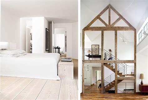 chambre avec poutre déco chambre blanc et bois