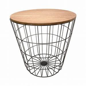 Storage wire basket table natural look black kmart for Wire round coffee table