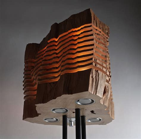 Sliced Lamps Made From Real Firewood Show The Beauty Of