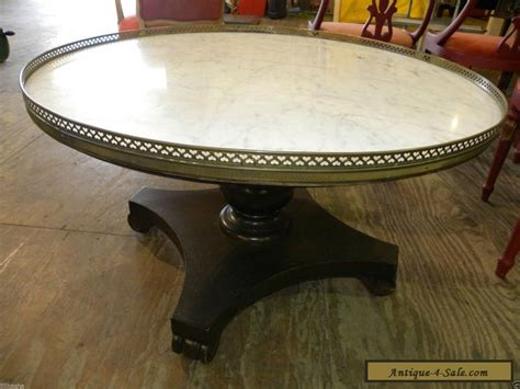 Vintage Retro Marble Top Round Accent Foyer Or Wood Coffee