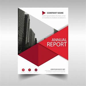 red geometric annual report template vector free download With book cover page design templates free download