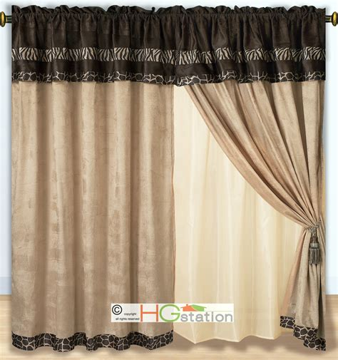 4 pc micro faux fur skin zebra giraffe curtain set