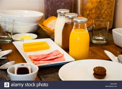 Continental Breakfast Table Setting At A Hotel Stock Photo