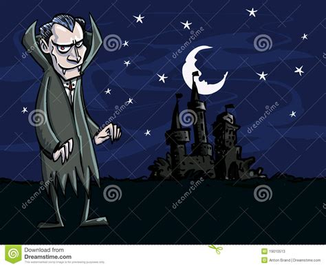 Cartoon Of Vampire In Front Of A Creepry Castle Stock