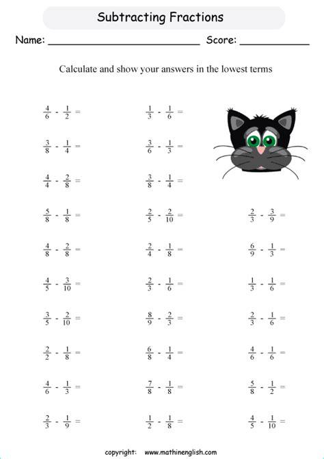 subtract fractions   denominators