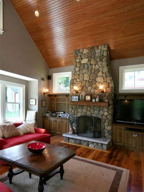 river rock fireplace best river rock fireplace design ideas remodel pictures