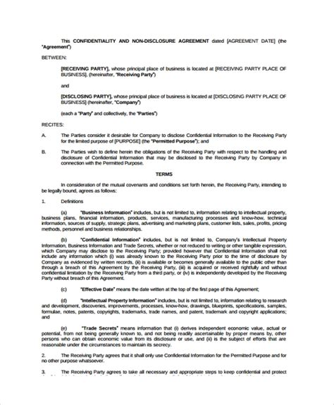 business confidentiality agreement templates