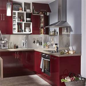 Meuble de cuisine rouge delinia griotte leroy merlin for Kitchen cabinets lowes with leroy merlin papiers peints