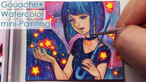 star shower galaxy watercolor gouache mini painting