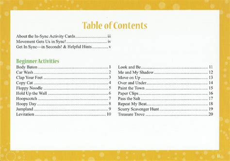 what is a table of contents in sync activity cards table of contents