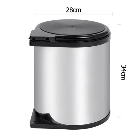 kitchen trash can with lid 14l kitchen swing out dustbin auto lid stainless steel