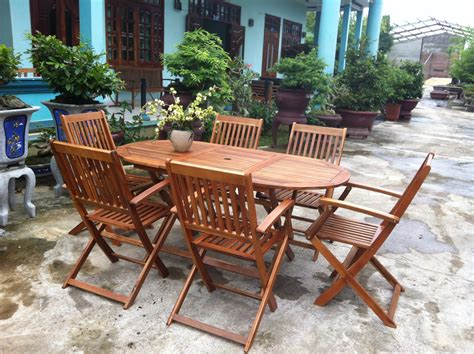 Wooden Outdoor Furniture by Garden Oval Table 6 Chairs Wooden Patio Outdoor Dining