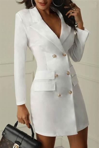 Casual Dresses Button Outfits Slim Woman Suit