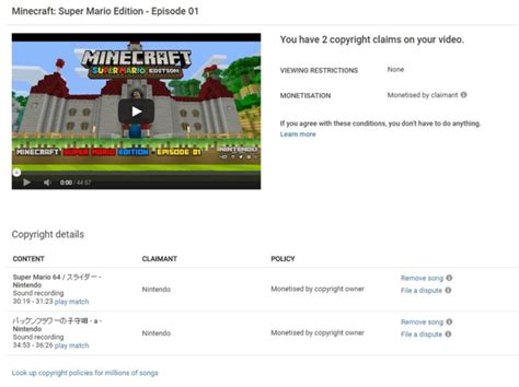 Super Mario Mash-up Minecraft Videos May Get Content Id Claims