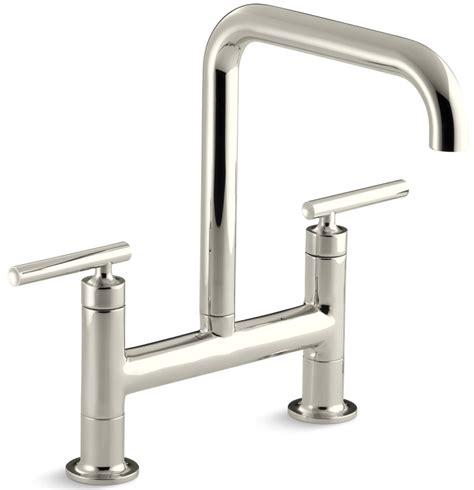 kohler purist 174 double handle bridge with rotating spout