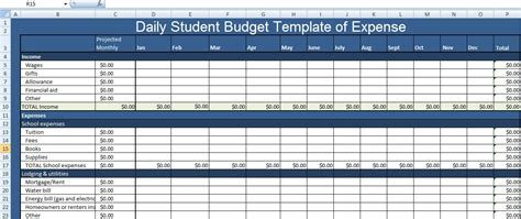 daily student budget template of expense xls free excel
