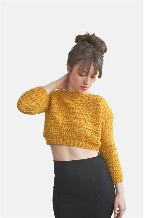 best sweaters crop top sweater in mustard yellow knit cotton top