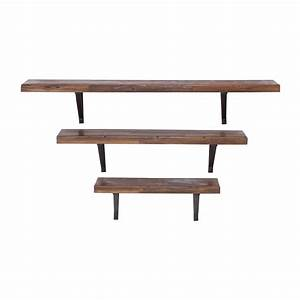Woodland Imports 92602 Metal and Wood Wall Shelves (Set of