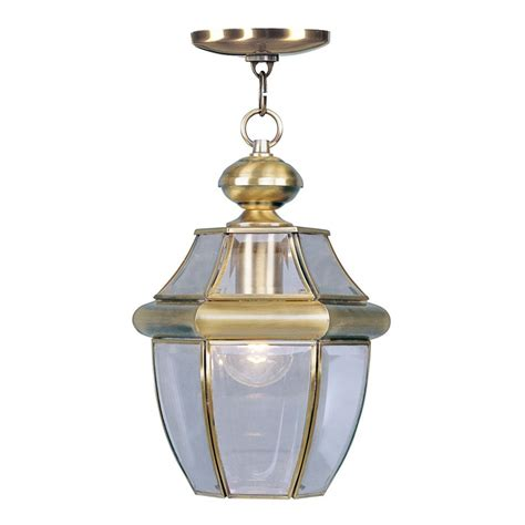 hanging light chain lowes shop livex lighting monterey 12 75 in antique brass