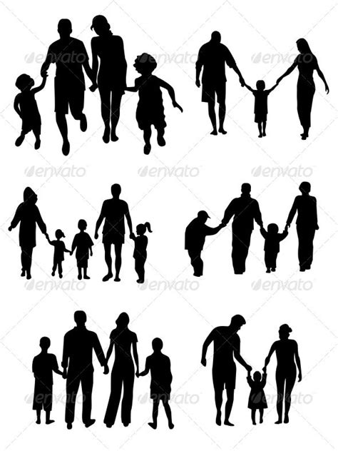 Family Silhouettes - Vector action, baby, black, boy,… | Family tattoos, Family tattoo