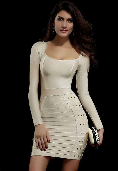 beige studded evening bandage dress pink queen