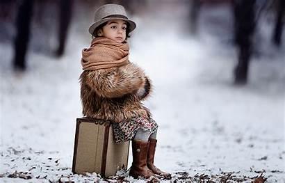 Winter Sitting Child Suitcase Jangan Wallpapers Hat